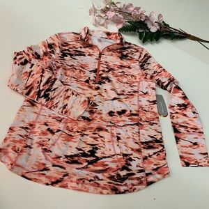NWT orange and black exerted pull over large
